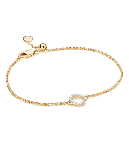 MONICA VINADER Riva Mini Circle 18ct gold vermeil and diamond bracelet