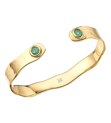 MONICA VINADER Siren gold-plated thin cuff with green onyx
