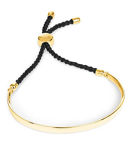 MONICA VINADER Fiji 18ct gold-plated friendship bracelet (Gold+black