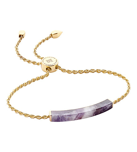 MONICA VINADER Linear 18ct gold-plated amethyst bracelet