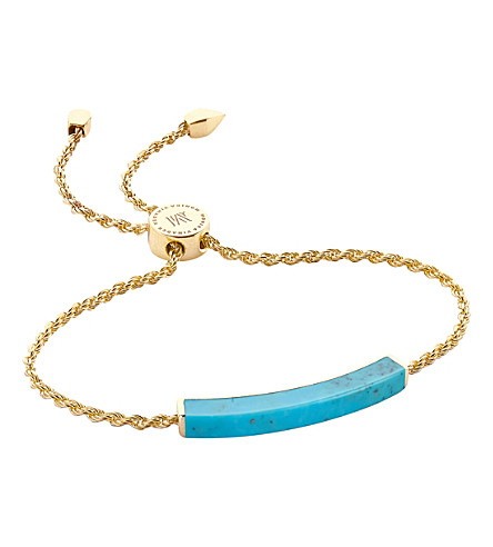 MONICA VINADER Linear 18ct gold-plated turquoise bracelet