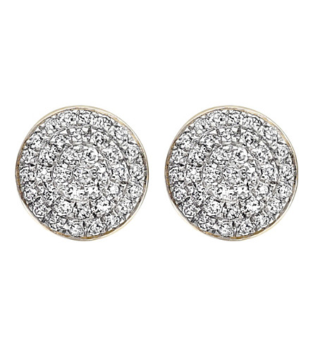 MONICA VINADER Fiji Button diamond and 18ct gold-plated vermeil stud earrings
