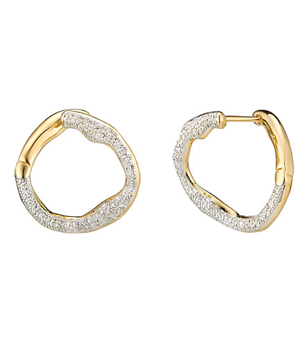 MONICA VINADER Riva Circle 18ct gold vermeil, sterling silver and diamond earrings
