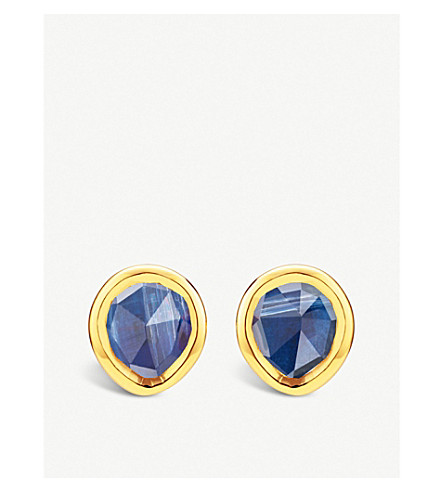 MONICA VINADER Siren mini 18ct gold-vermeil sterling silver studs (Blue