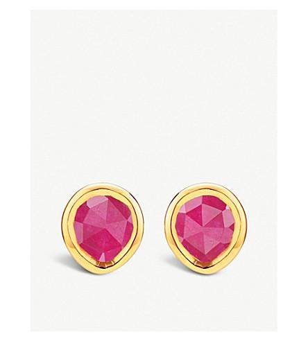 MONICA VINADER Siren mini 18ct gold-vermeil and pink quartz studs (Pink