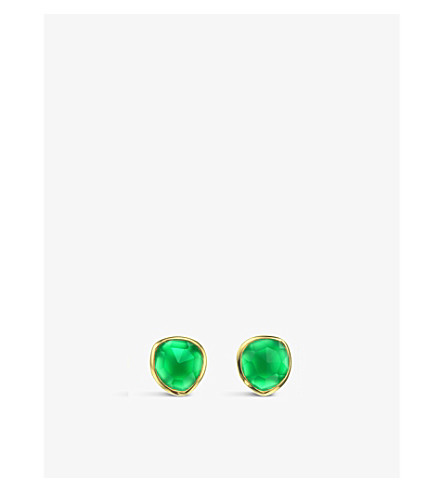 MONICA VINADER Siren 18ct gold-plated vermeil and green onyx stud earrings