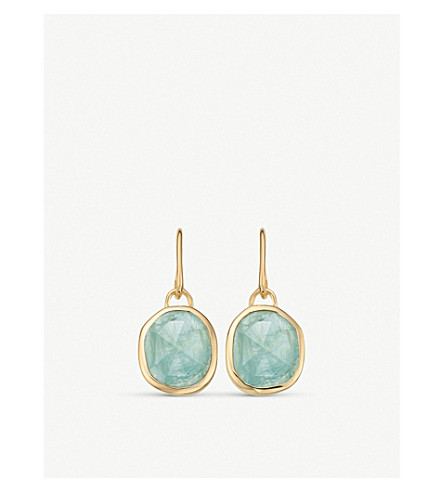 MONICA VINADER Siren 18ct gold-plated wire earrings with aquamarine