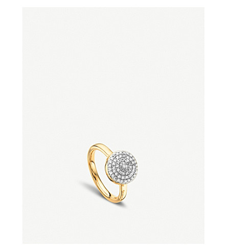 MONICA VINADER Fiji 18ct gold and diamond large button stacking ring