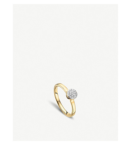 MONICA VINADER Fiji 18ct gold and diamond mini button stacking ring