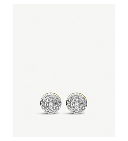 MONICA VINADER Fiji Button Mini Stud 18ct gold and diamond earrings