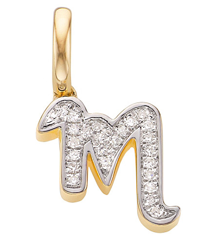 MONICA VINADER 18ct yellow-gold vermeil and diamond alphabet pendant M