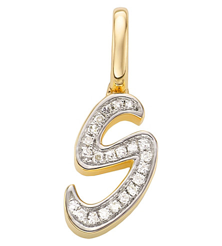 MONICA VINADER 18ct yellow-gold vermeil and diamond alphabet pendant S