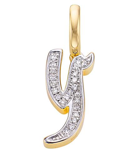 MONICA VINADER 字母18ct 金-迪克·维蒙和钻石吊坠