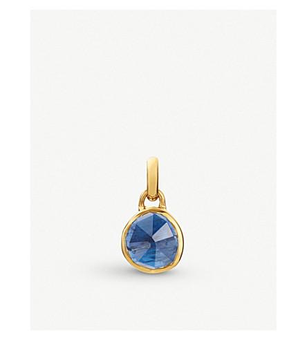 MONICA VINADER Siren mini 18ct gold vermeil and kyanite bezel pendant (Blue