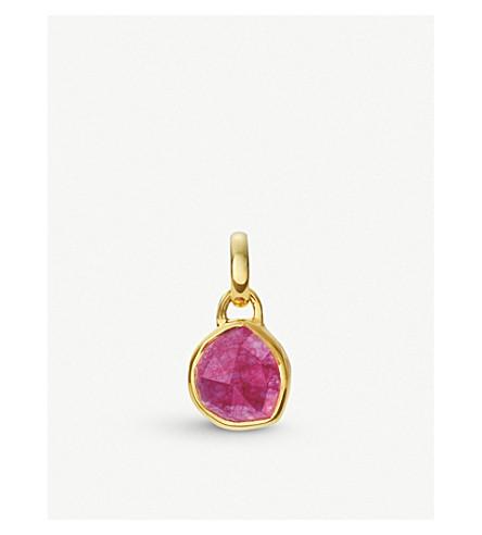 MONICA VINADER Siren mini 18ct gold vermeil and pink quartz bezel pendant (Pink