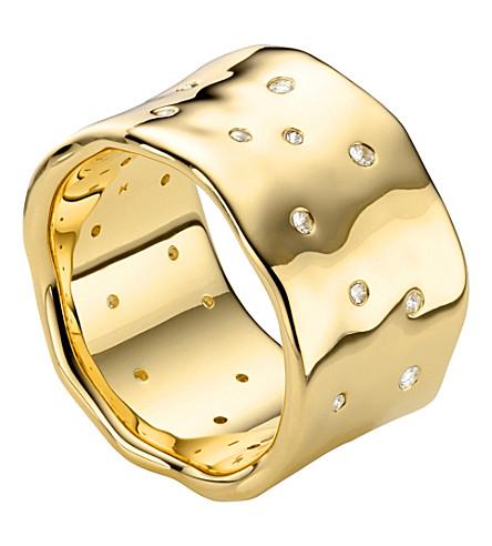 MONICA VINADER 警报器散射 18 ct 镀金环