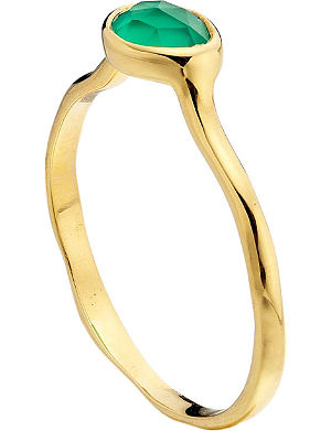 MONICA VINADER Siren 18ct gold-plated green onyx stacking ring