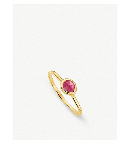 MONICA VINADER Siren 18ct gold vermeil and pink quartz small stacking ring (Pink