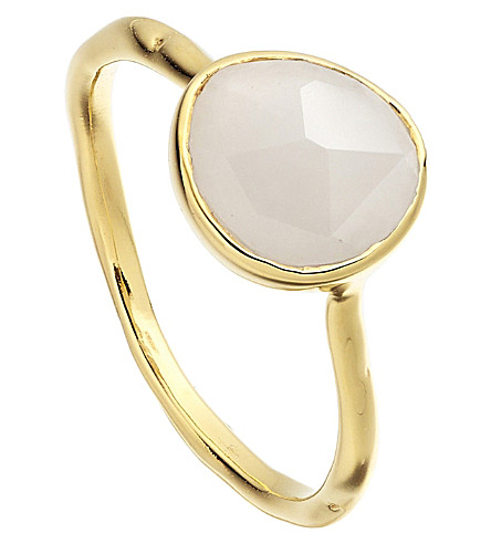 MONICA VINADER Siren 18ct gold-plated vermeil and moonstone stacking ring