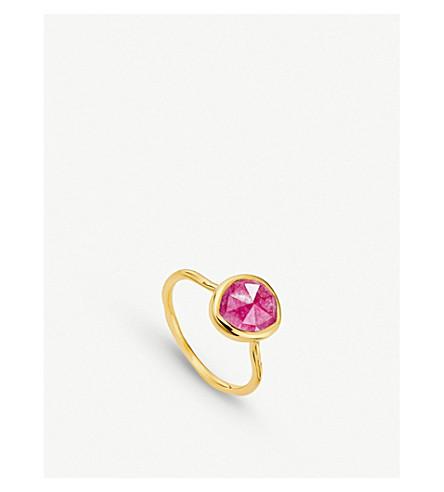 MONICA VINADER Siren 18ct gold vermeil and pink quartz medium stacking ring (Pink