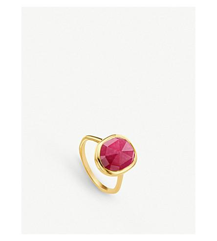 MONICA VINADER Siren sterling silver and pink quartz medium stacking ring (Pink