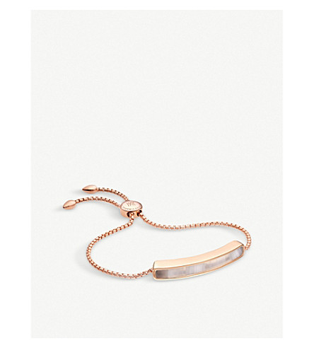 MONICA VINADER Baja 18ct rose gold-plated vermeil and grey agate bracelet
