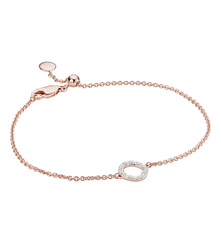 MONICA VINADER Riva Mini Circle 18ct rose-gold vermeil and diamond bracelet