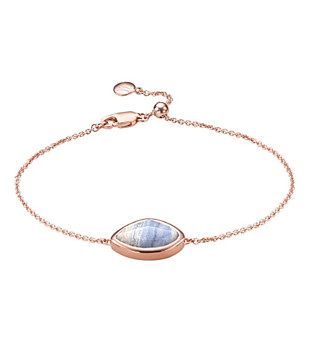 MONICA VINADER Siren Teardrop 18ct rose-gold vermeil and lace agate bracelet