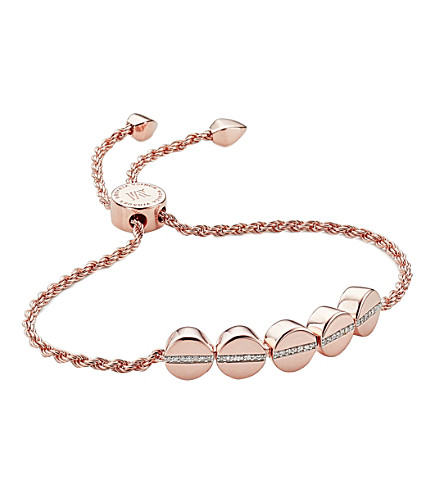MONICA VINADER Linear bead 18ct rose gold-plated and pavé diamond bracelet