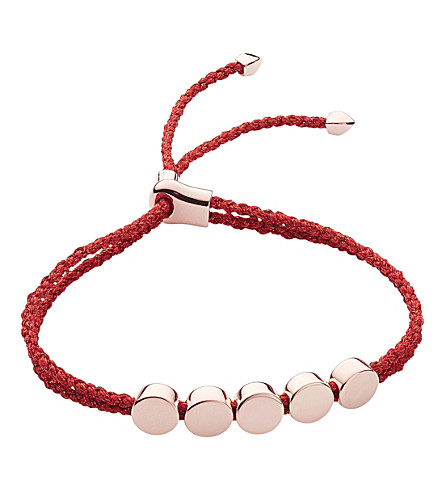MONICA VINADER Linear bead 18ct rose-gold vermeil friendship bracelet