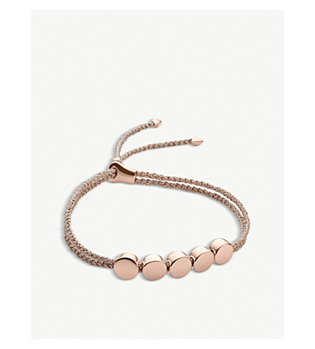 MONICA VINADER Linear Bead 18ct rose-gold plated friendship bracelet