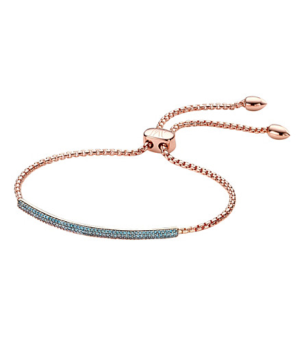 MONICA VINADER Fiji Mini Bar blue diamond and 18ct rose gold-plated vermeil bracelet