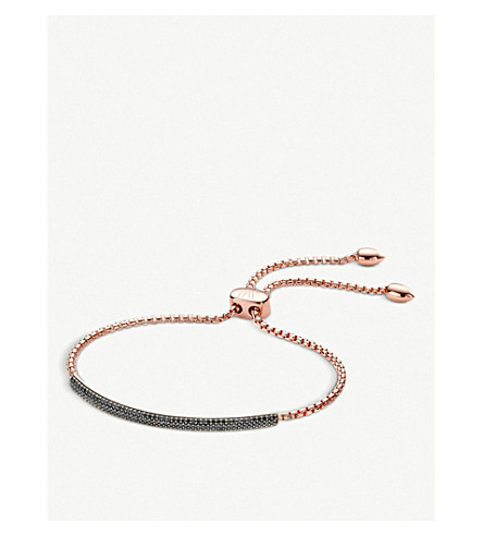 MONICA VINADER Stellar 18ct rose gold-plated vermeil and black diamond bracelet