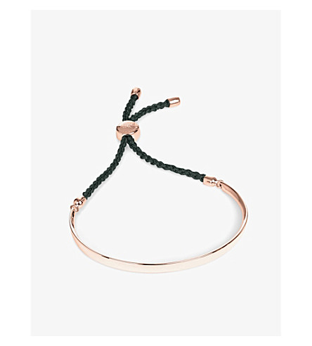 MONICA VINADER Fiji 18ct rose gold-plated friendship bracelet (Ros+black+cord