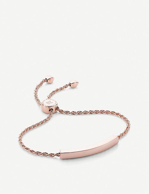 MONICA VINADER Linear 18ct rose gold-plated and pavé diamond bracelet