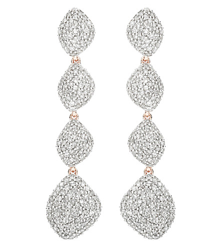 MONICA VINADER Nura Teardrop 18ct rose-gold vermeil and diamond earrings