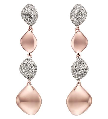 MONICA VINADER Nura Teardop Mix Link 18ct rose-gold and diamond earrings