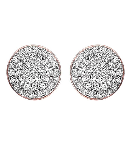 MONICA VINADER Fiji Button diamond and 18ct rose gold-plated vermeil stud earrings