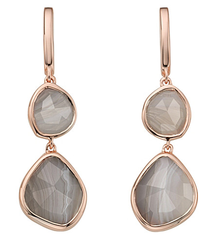 MONICA VINADER Siren Double Drop Nugget 18ct rose gold-plated and onyx earrings