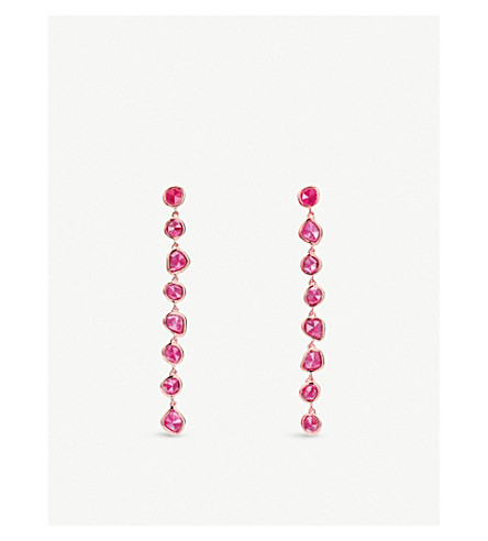 MONICA VINADER Siren 18ct rose-gold vermeil and pink quartz nugget cocktail earrings (Pink