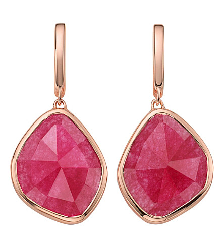 MONICA VINADER Siren Large Nugget 18ct rose gold-plated and pink quartz earrings