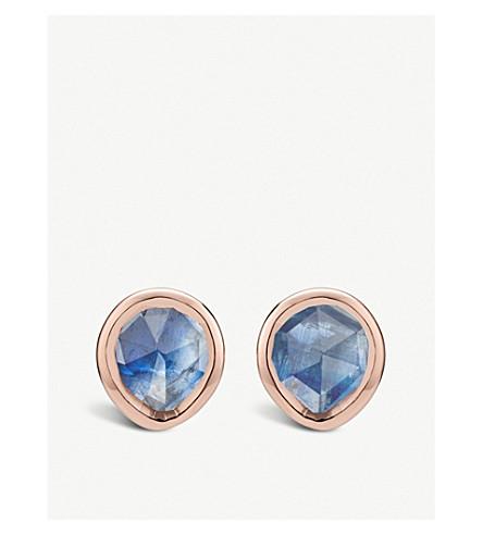 MONICA VINADER Siren mini 18ct rose-gold vermeil and kyanite stud earrings (Blue