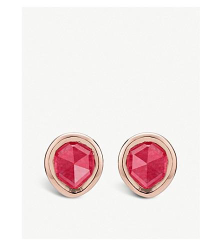 MONICA VINADER Siren mini 18ct rose-gold vermeil and pink quartz stud earrings (Pink