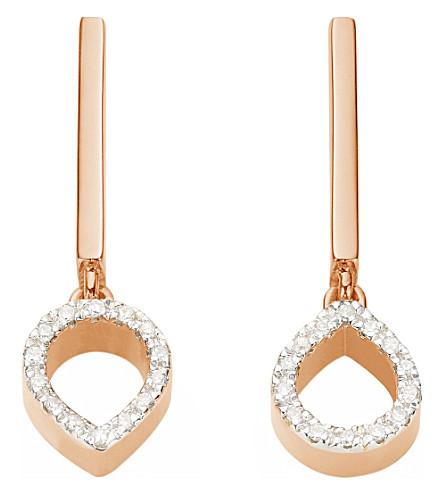MONICA VINADER 妲迷你莲花18ct 玫瑰金迪克·维蒙和钻石耳环 (玫瑰 + 金