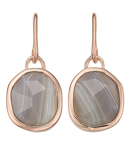 MONICA VINADER Siren Wire 18ct rose gold-plated and grey agate earrings