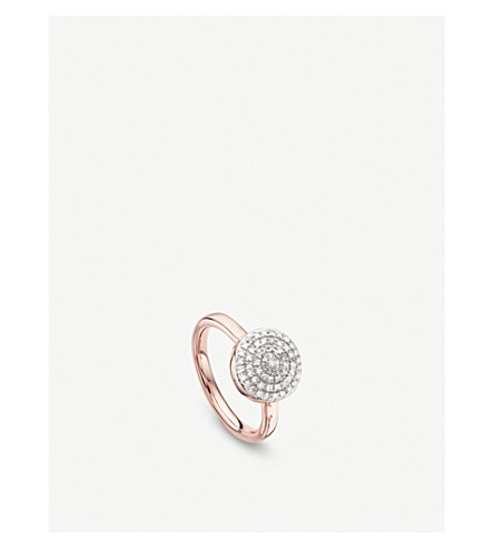 MONICA VINADER Fiji Large Button 18ct rose-gold and diamond stacking ring
