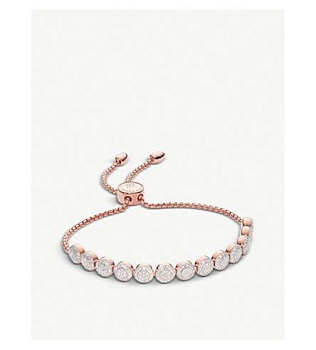 MONICA VINADER Fiji mini button rose gold vermeil and diamond friendship chain bracelet