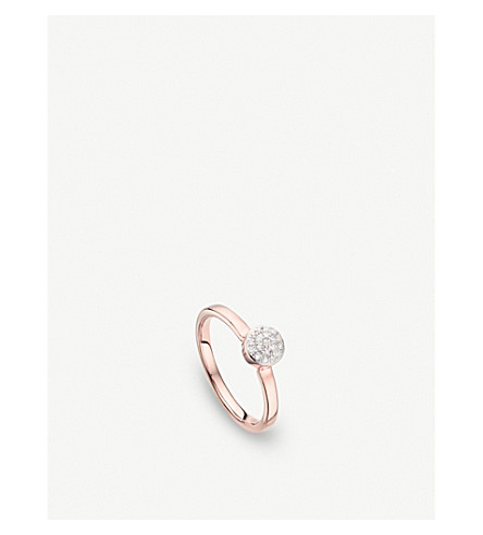 MONICA VINADER Fiji Mini Button 18ct rose-gold vermeil and diamond stacking ring