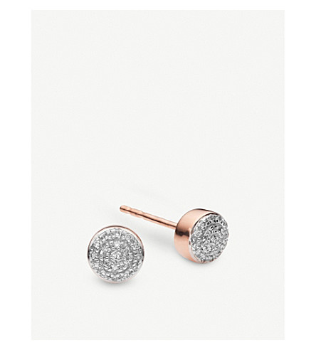 MONICA VINADER Fiji Mini Button 18ct rose-gold vermeil and diamond stud earrings