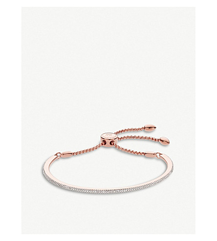 MONICA VINADER Fiji skinny bar 18ct rose-gold and diamond friendship chain bracelet